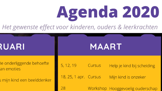 Nieuwe agenda 2020 online